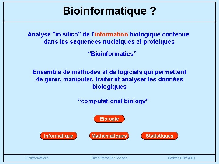 """Bioinformatique ? Analyse """"in silico"""" de l'information biologique contenue dans les séquences nucléiques et"""
