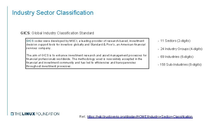 Industry Sector Classification GICS: Global Industry Classification Standard GICS codes were developed by MSCI,