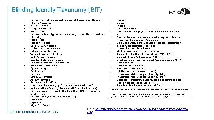 Blinding Identity Taxonomy (BIT) • • • • • • • • Names (incl.