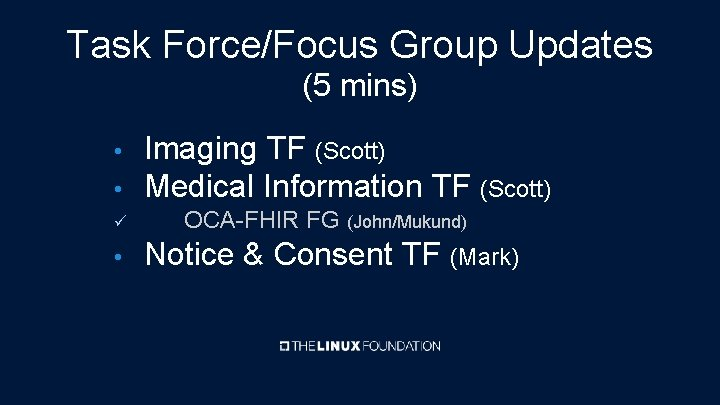 Task Force/Focus Group Updates (5 mins) • Imaging TF (Scott) Medical Information TF (Scott)