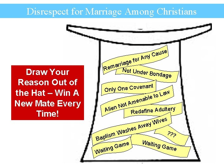 Disrespect for Marriage Among Christians se au ny C Draw Your Reason Out of
