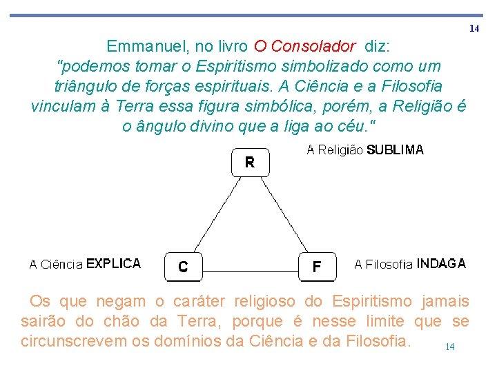 """14 Emmanuel, no livro O Consolador diz: """"podemos tomar o Espiritismo simbolizado como um"""