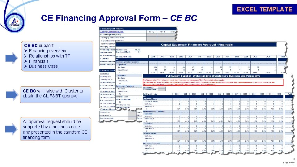 EXCEL TEMPLATE CE Financing Approval Form – CE BC support : Ø Financing overview