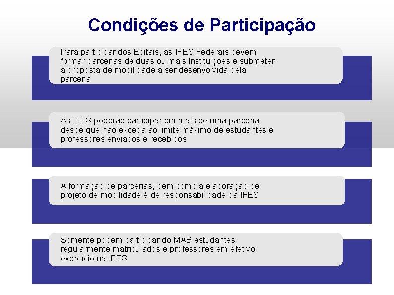 Condições de Participação Para participar dos Editais, as IFES Federais devem formar parcerias de