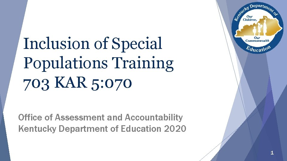 Inclusion of Special Populations Training 703 KAR 5: 070 Office of Assessment and Accountability
