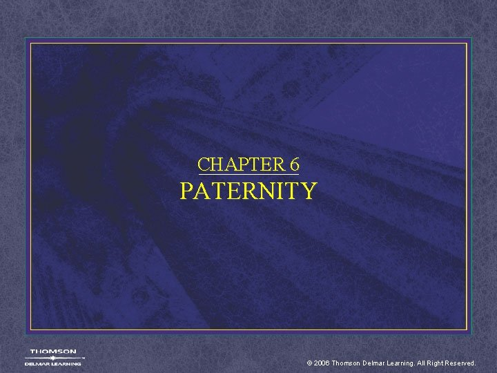 CHAPTER 6 PATERNITY © 2006 Thomson Delmar Learning. All Right Reserved.