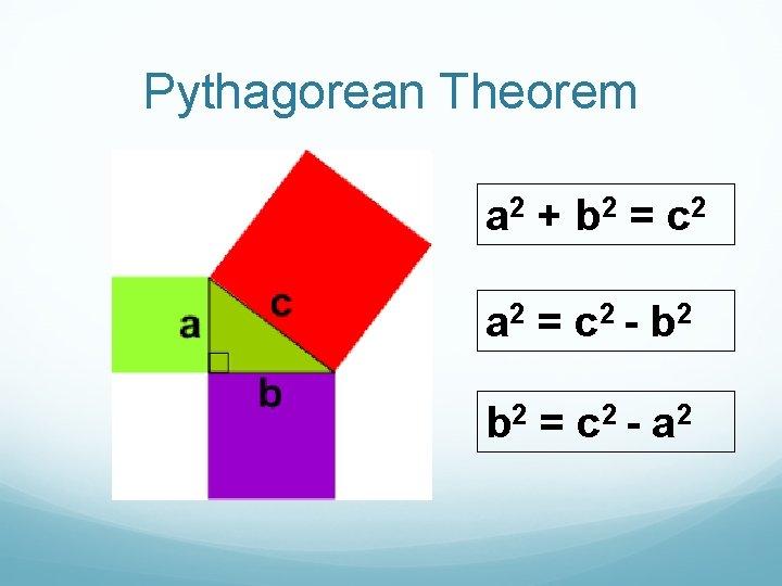 Pythagorean Theorem a 2 + b 2 = c 2 a 2 = c