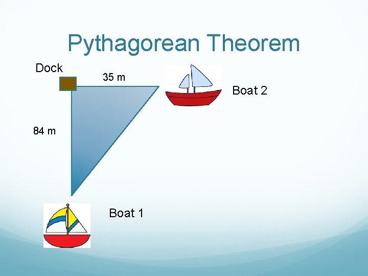 Pythagorean Theorem Dock 35 m Boat 2 84 m Boat 1