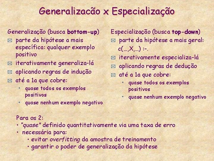 Generalizacão x Especialização Generalização (busca bottom-up) * parte da hipótese a mais específica: qualquer