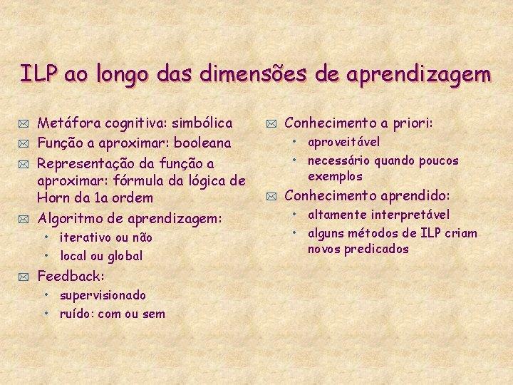ILP ao longo das dimensões de aprendizagem * * Metáfora cognitiva: simbólica Função a