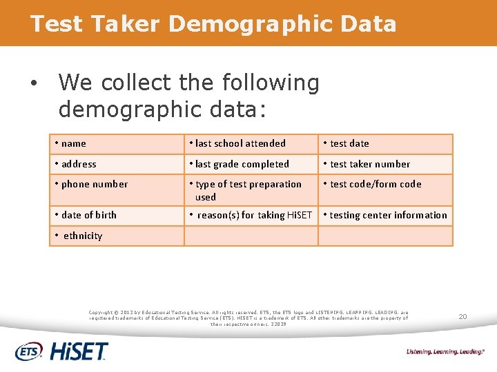 Test Taker Demographic Data • We collect the following demographic data: • name •