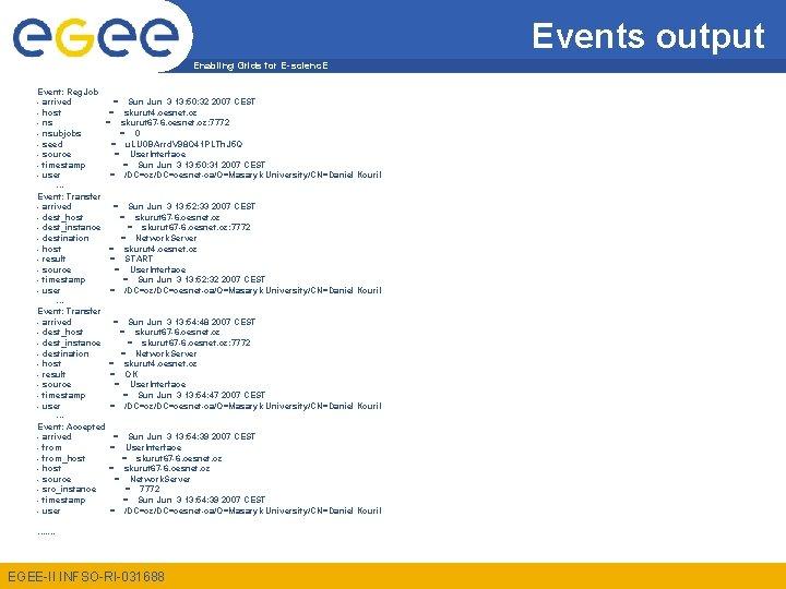 Events output Enabling Grids for E-scienc. E Event: Reg. Job - arrived = Sun