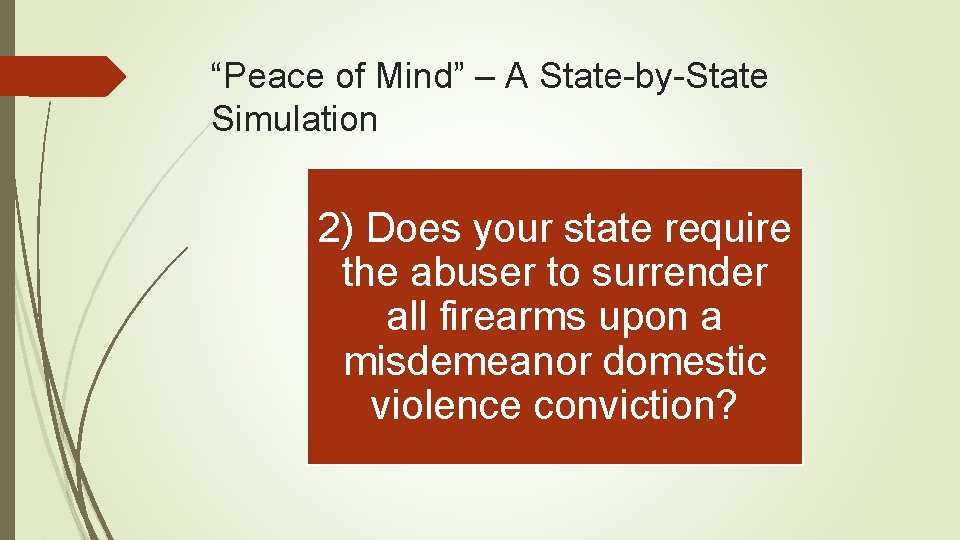 """Peace of Mind"" – A State-by-State Simulation 2) Does your state require the abuser"