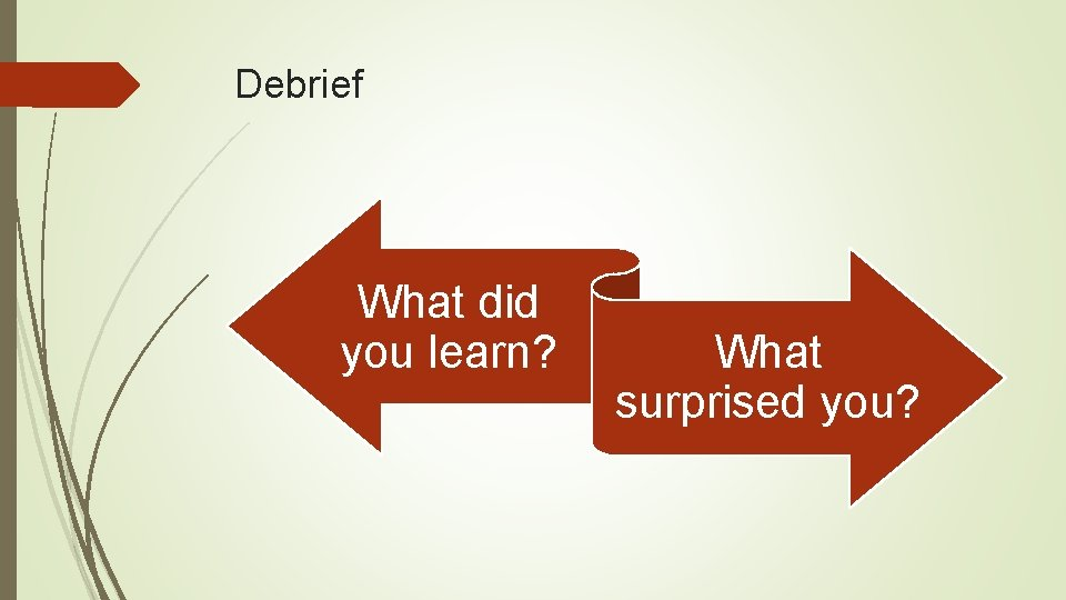 Debrief What did you learn? What surprised you?