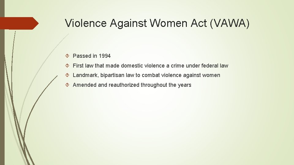 Violence Against Women Act (VAWA) Passed in 1994 First law that made domestic violence
