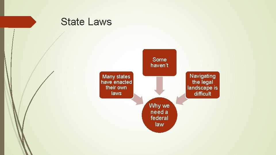 State Laws Some haven't Navigating the legal landscape is difficult Many states have enacted