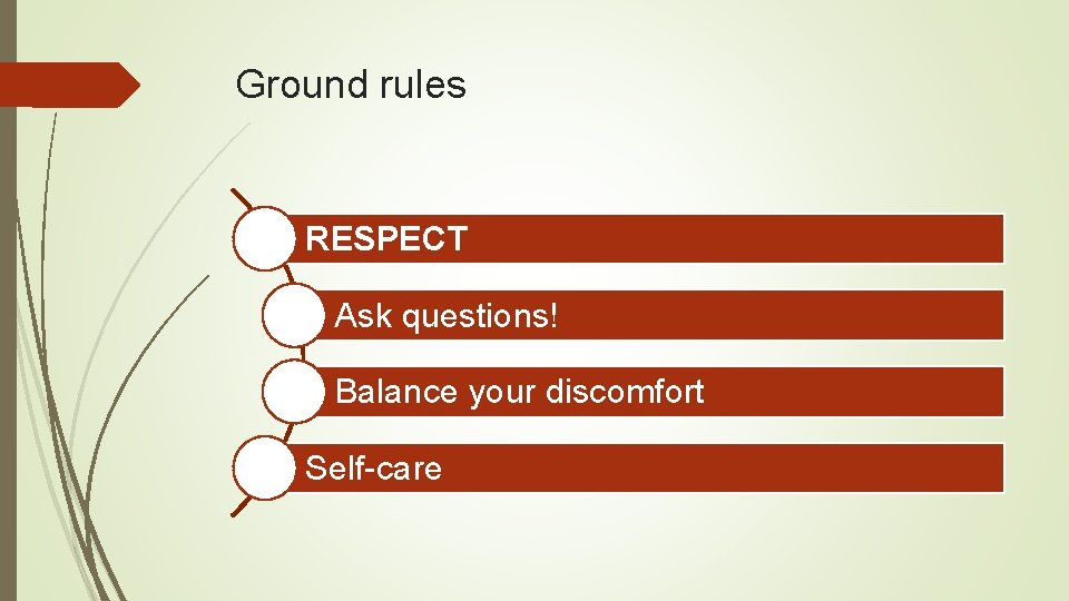 Ground rules RESPECT Ask questions! Balance your discomfort Self-care