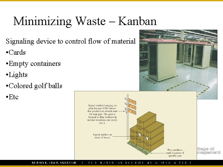 Minimizing Waste – Kanban Signaling device to control flow of material • Cards •