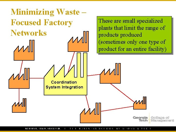 Minimizing Waste – Focused Factory Networks Coordination System Integration These are small specialized plants