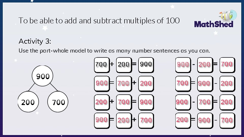 To be able to add and subtract multiples of 100 Activity 3: Use the