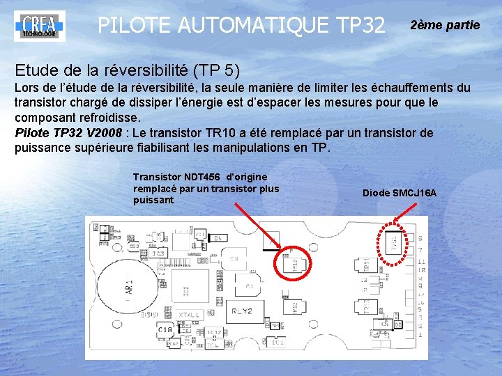 PILOTE AUTOMATIQUE TP 32 2ème partie Etude de la réversibilité (TP 5) Lors de