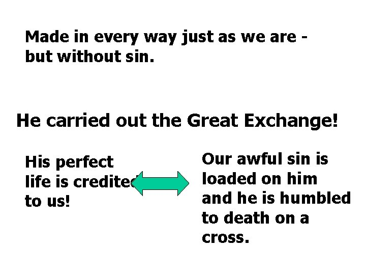 Made in every way just as we are but without sin. He carried out