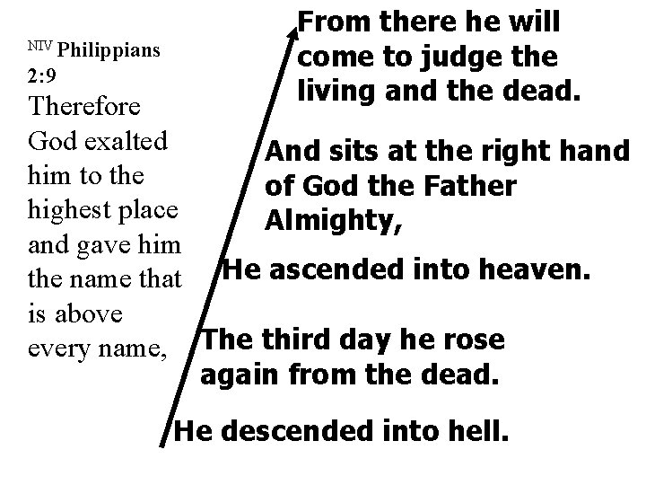 NIV Philippians 2: 9 From there he will come to judge the living and