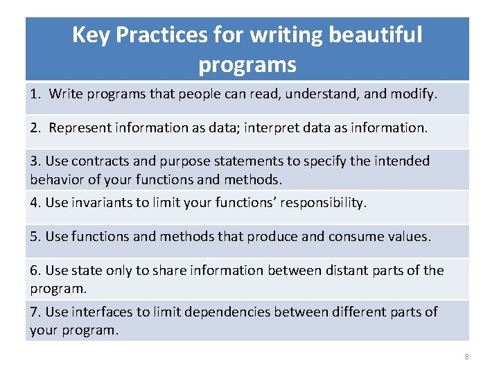 Key Practices for writing beautiful programs 1. Write programs that people can read, understand,