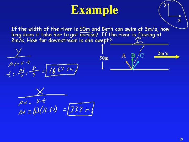 y Example x If the width of the river is 50 m and Beth