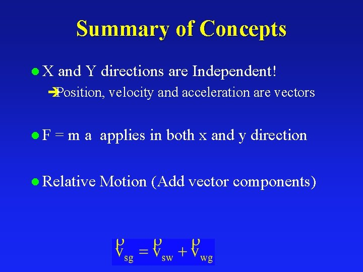 Summary of Concepts l. X and Y directions are Independent! èPosition, velocity and acceleration