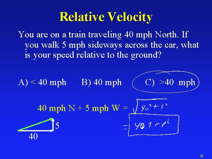 Relative Velocity You are on a train traveling 40 mph North. If you walk