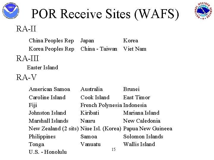 POR Receive Sites (WAFS) RA-II China Peoples Rep Korea Peoples Rep Japan Korea China