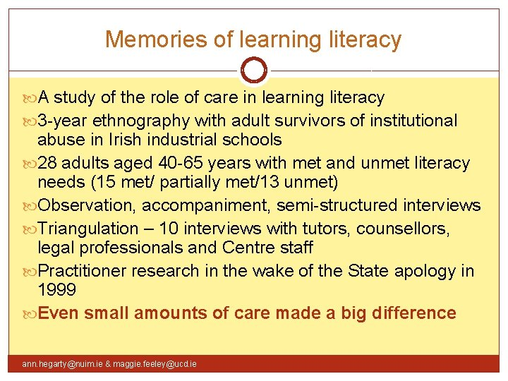 Memories of learning literacy A study of the role of care in learning literacy
