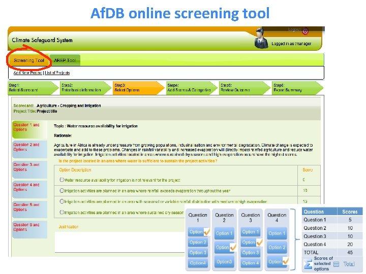 Af. DB online screening tool