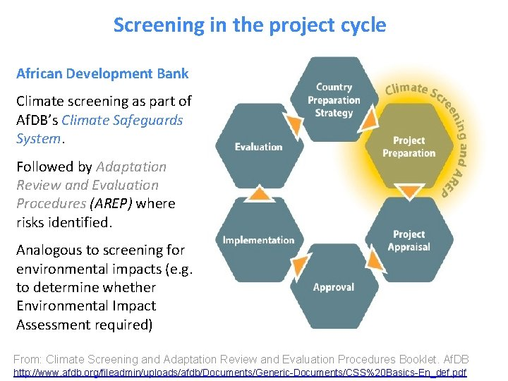 Screening in the project cycle African Development Bank Climate screening as part of Af.