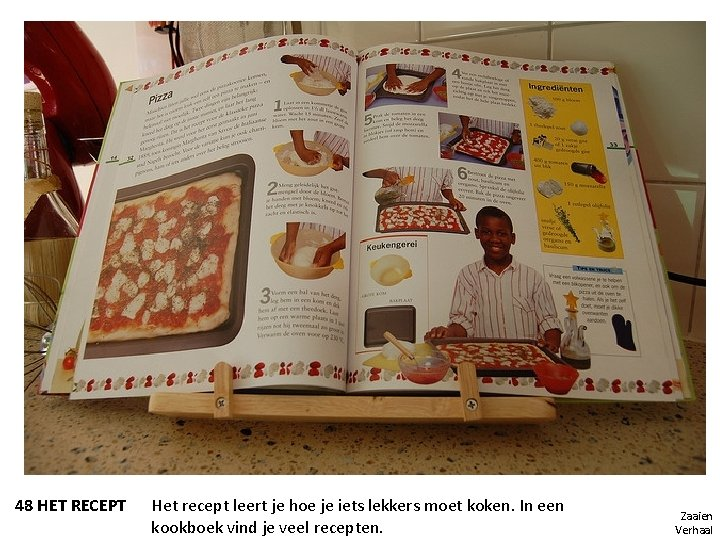48 HET RECEPT Het recept leert je hoe je iets lekkers moet koken. In