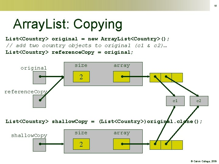 16 Array. List: Copying List<Country> original = new Array. List<Country>(); // add two country