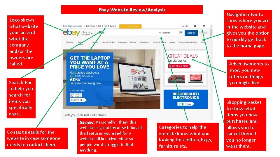 Ebay Website Review/Analysis Logo shows what website your on and what the company and/or
