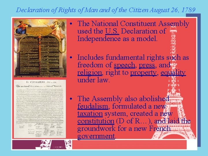 Declaration of Rights of Man and of the Citizen August 26, 1789 • The