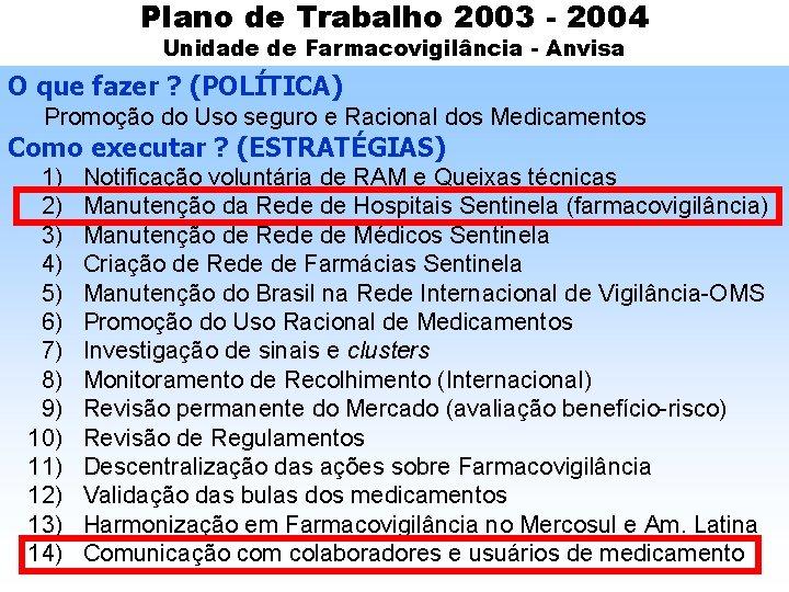 Plano de Trabalho 2003 - 2004 Unidade de Farmacovigilância - Anvisa O que fazer