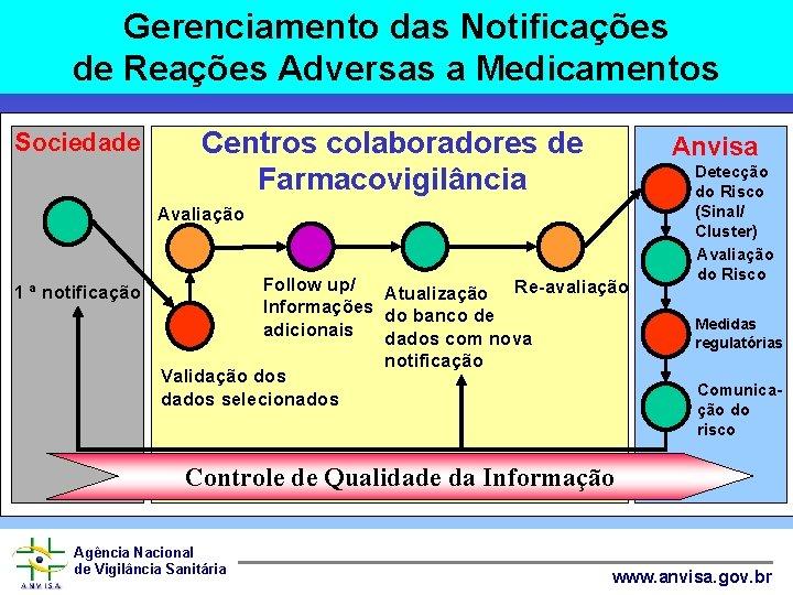 Gerenciamento das Notificações de Reações Adversas a Medicamentos Sociedade Centros colaboradores de Farmacovigilância Anvisa
