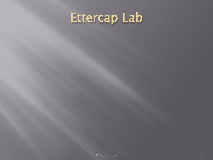 Ettercap Lab MIS 5212. 001 7