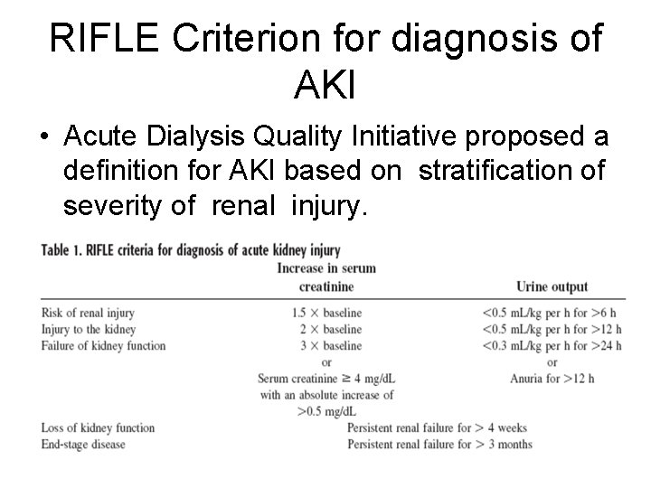 RIFLE Criterion for diagnosis of AKI • Acute Dialysis Quality Initiative proposed a definition