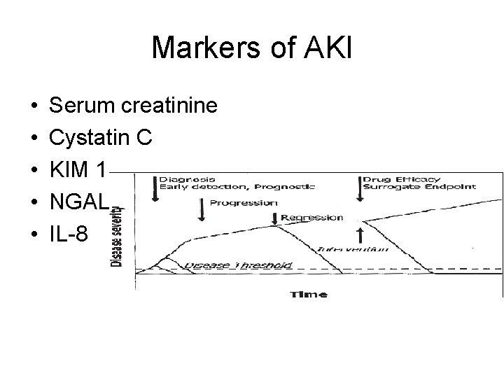 Markers of AKI • • • Serum creatinine Cystatin C KIM 1 NGAL IL-8
