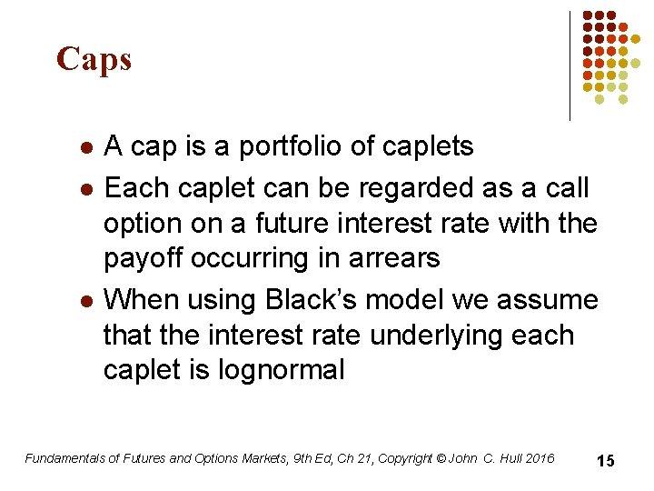 Caps l l l A cap is a portfolio of caplets Each caplet can