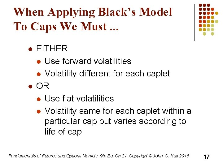When Applying Black's Model To Caps We Must. . . l l EITHER l