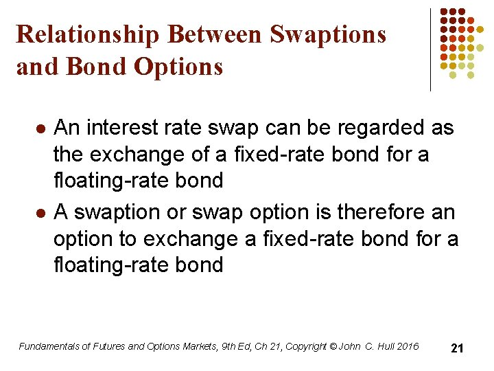 Relationship Between Swaptions and Bond Options l l An interest rate swap can be