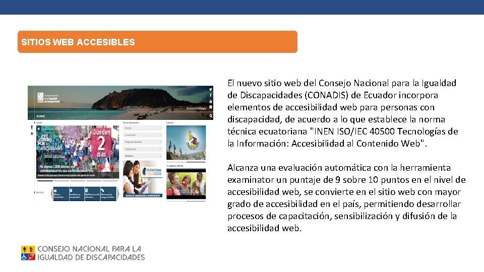 SITIOS WEB ACCESIBLES El nuevo sitio web del Consejo Nacional para la Igualdad de