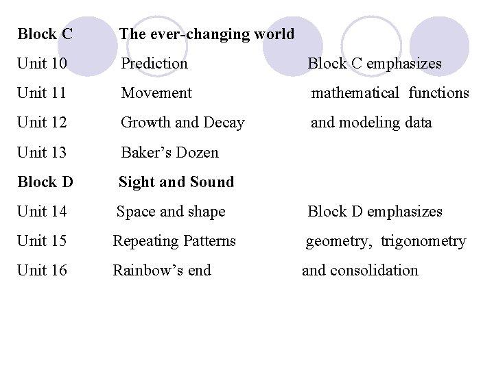 Block C The ever-changing world Unit 10 Prediction Block C emphasizes Unit 11 Movement