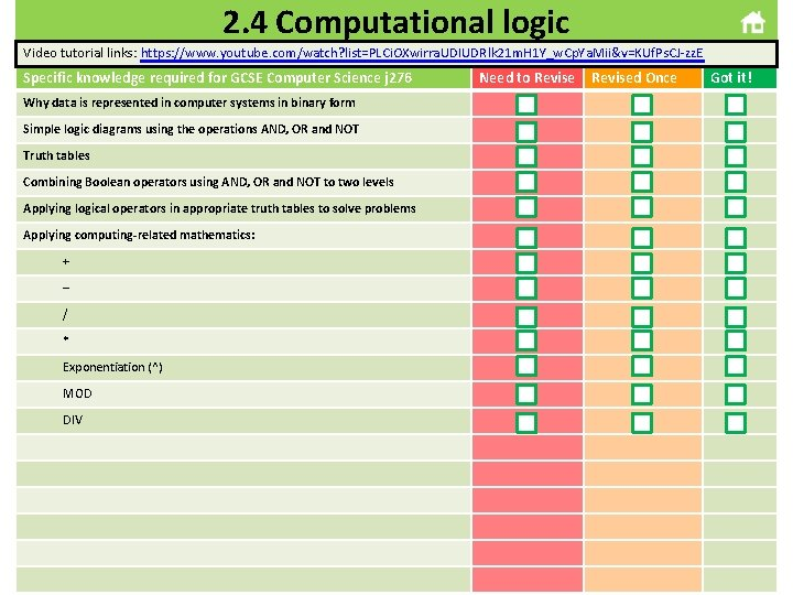 2. 4 Computational logic Video tutorial links: https: //www. youtube. com/watch? list=PLCi. OXwirra. UDIUDRlk